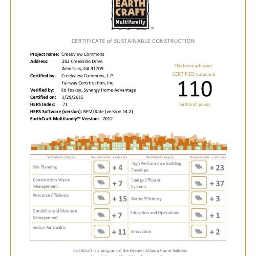 Creekview-EarthCraft-Certificate